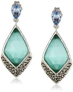 """Judith Jack """"Mint Elegant"""" Sterling Silver Marcasite Mint Drop Earrings"""
