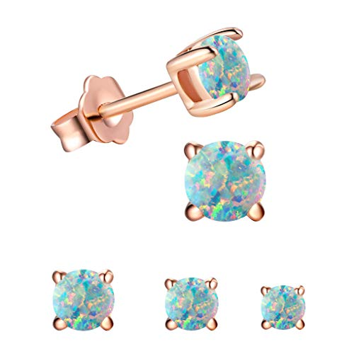 - Tiny Round Opal Stud Earrings Sets For Kids-18K Rose Gold Plated Birthstones Earrings For Teens & Little Girls(3 Pairs/Set 2,3,4mm)