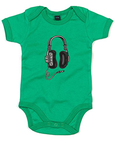Price comparison product image Headphones, Printed Baby Grow - Kelly Green/Transfer 12-18 Months