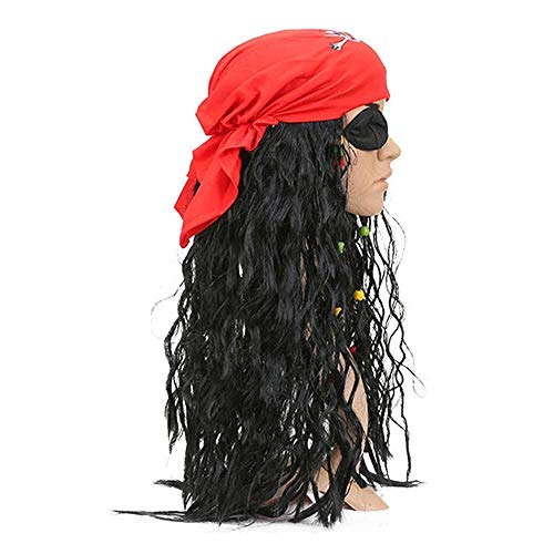 - Pirates Caribbean Costume Jack Sparrow Mask Cosplay Adult Captain Pirate Headscarf Accessories Sets for Halloween Fancy Gift (Black Red)