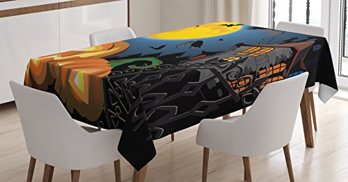 Halloween Decorations Tablecloth by Ambesonne, Gothic Scene with Halloween Haunted House Party Theme Decor Trick or Treat for Kids, Rectangular Table Cover for Dining Room Kitchen, 60x90 Inch, Multi