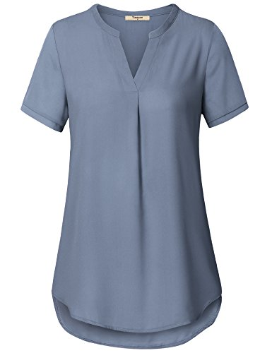 (Timeson Business Casual Clothes for Women, V Neck Short Sleeve Curved Hem Sheer Chiffon Blouse Shirts Tops Blue Grey Large)