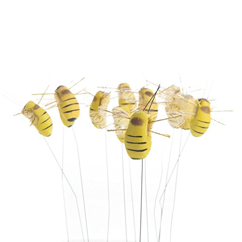 - Package of 12 Artificial Mushroom Bumblebees with Attached Wire for Embellishing and Designing