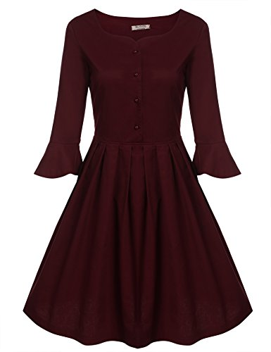ACEVOG-Womens-1950s-Vintage-Flare-Sleeve-Button-Pleated-Swing-Dress