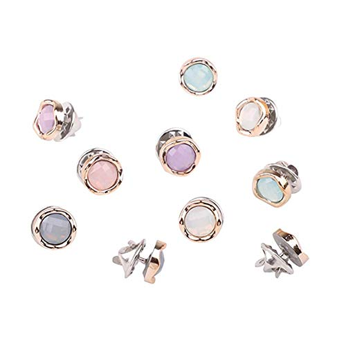 Joyci 10-Pack Women Shirt Brooch Buttons Lapel Pins Novelty Suit Vest Safety Buckle Metal Tie Tacks Pin Back Clutch (Jelly Color) (10k Brooch)