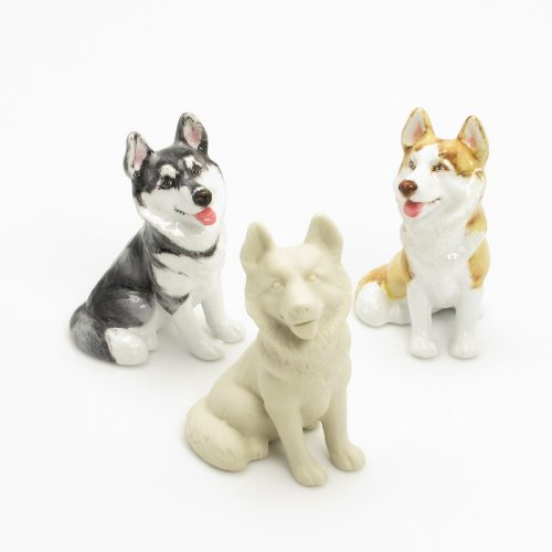 Siberian Figurine Husky Dog - 3 Pcs. Unpainted Ceramic DIY Siberian Husky Figurine Ready To Paint Dog Lover Crafting Projects
