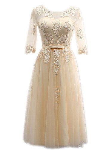 IHouse Women Prom Homecoming Dresses for Ball Party with Sleeve Champagne Size - Champagne Tea