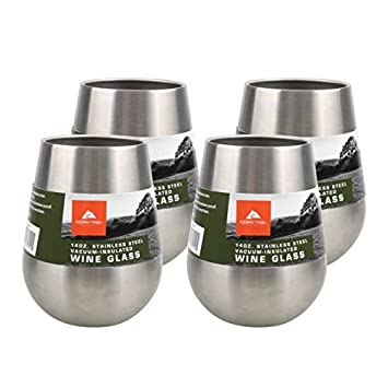 Ozark Trail 4 Pack 14 Ounce Stainless Steel Wine Glasses