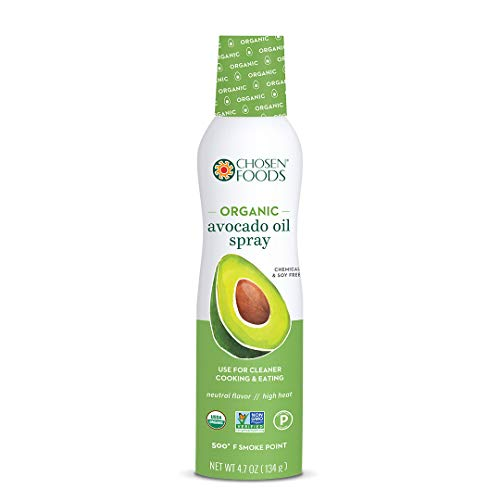 Chosen Foods Organic 100% Pure Avocado Oil Spray 4.7 oz, Non-GMO, 500° F Smoke Point, Propellant-Free, Air Pressure Only for High-Heat Cooking, Baking and Frying