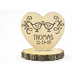 Personalized Love Birds Rustic Cake Topper