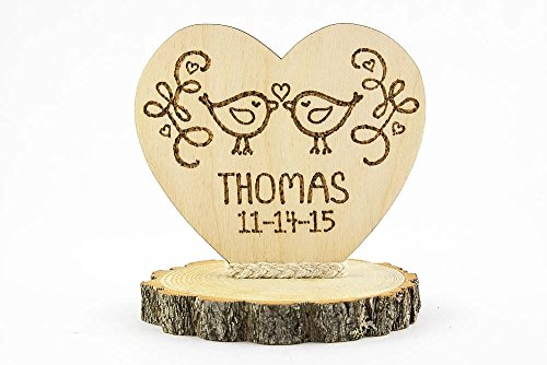 (Personalized Love Birds Custom Wood Rustic Wedding Cake)
