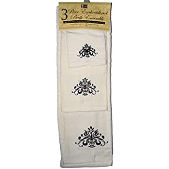 Amazon.com: Cream with Brown design - 3 Piece Embroidered ...