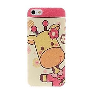 Mini - Litchi Texture Cute Cartoon Giraffe Pattern Plastic Hard Case for iPhone 5/5S