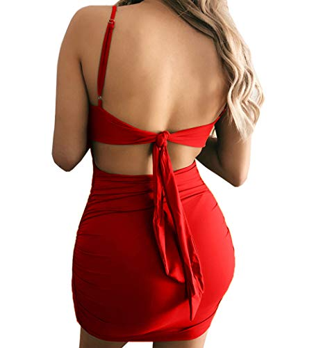 Spaghetti Dresses Club Women's Ruched Backless Sleeveless Bodycon Red Mini Sexy Cailami Strap fw4xUYvqU