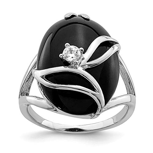 925 Sterling Silver Black Onyx Cubic Zirconia Cz Band Ring Size 8.00 Stone Natural Fine Jewelry Gifts For Women For ()