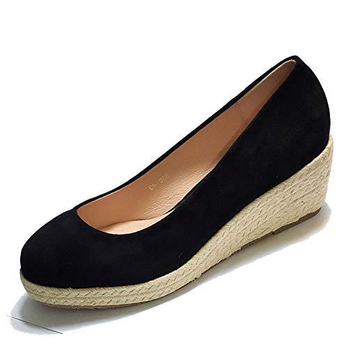 Cuñas Poco Boda Con Plataforma La Zapatos En Punta De Informal Redonda Zapatillas Playa Vestido Profunda Calzado Para Negro 7cm Mujer Deslizamiento Alpargatas qAnnw4gCx