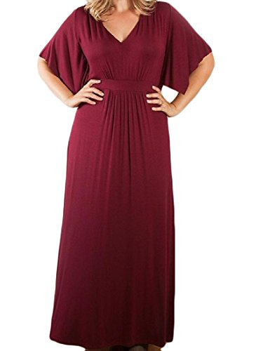 V Sleeve Dresses Half Evening Women Party Wine Plus Size Red Pleated neck Coolred pw5fUqn