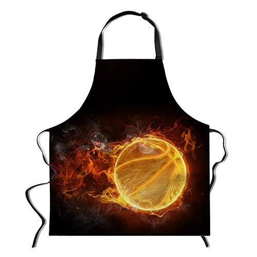 (WHEREISART Sports Apron, Fire encircled The Basketball with a String of Flames Kitchen Apron with Adjustable Neck for Cooking Baking Gardening Parties Family Apron Gift Orange Black)