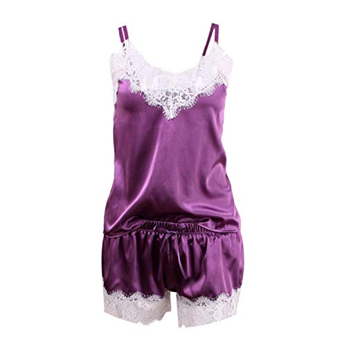 2018 Women Sleepwear Satin Pajama Cami Top + Shorts Pajamas,A White Purple,XXL]()