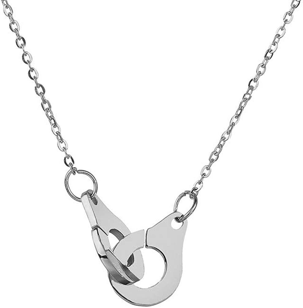 2 styles in 1 versatile hypoallergenic piece Handcuffs necklace with long steel chain