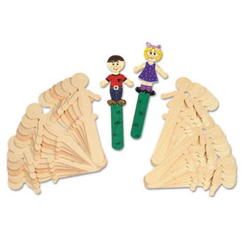 The Chenille Kraft Company People-Shaped Wood Craft Sticks, 5 3/8'', Wood, Natural, 36/Pack (6 Pack)
