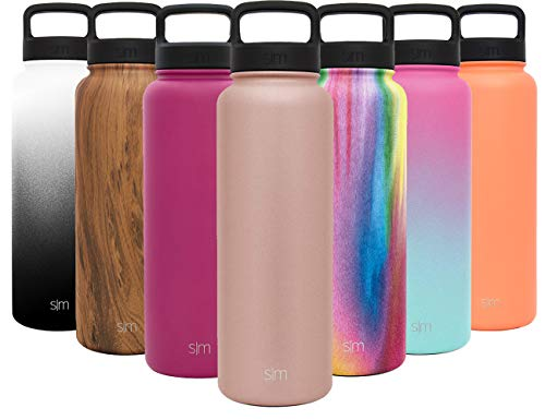 Simple Modern 40 oz Summit Water Bottle - Stainless Steel Liter Flask +2 Lids - Wide Mouth Tumbler Double Wall Vacuum Insulated Gold Leakproof -Rose Gold