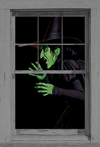 Window Poster Halloween Green Wicked Witch by WOWindows USA-made Decoration Includes 1 Reusable 34.5