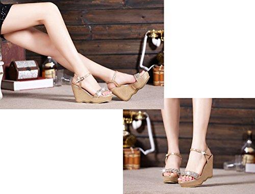 alla Gold9 con cm SCARPA 5cm dorate 12 moda fondo 5cm a cm sandali spesso estive Gold9 9 5 zeppa 33 strass Colore dimensioni 8c81Ewqv