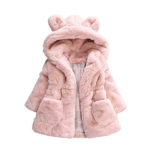 TAIYCYXGAN Baby Little Girls Winter Fleece Coat Kids Faux Fur Jacket with Hood Thicken Outwear Warm Overcoat Pink 90 -