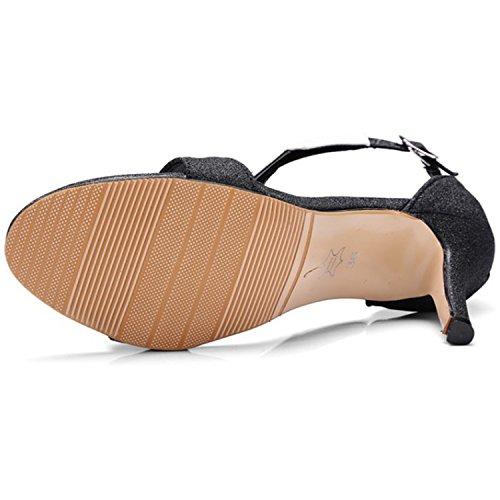 Azbro Mujer Sandalias Estilete de Tacón Alto Empalme con Puntera Abierta Plateado