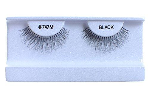 10 Pairs 100% Human Hair False Eyelashes Natural Black #747M
