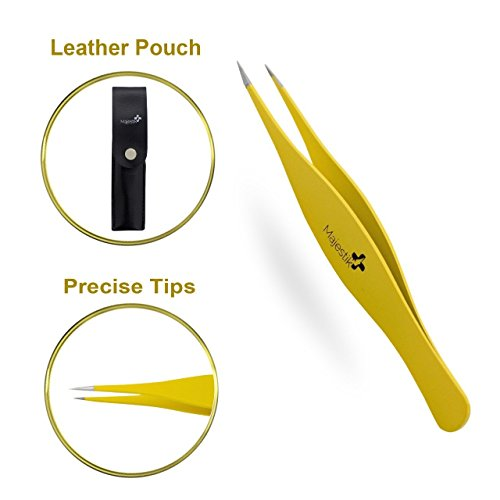 Majestik+ Precision Tweezers For Ingrown Hair - Professional Pointed Tweezer – Eyebrow And Splinter Removal Tweezers, Pointed Tip For Stubble, Facial Hair- Perfectly Aligned Tips In Yellow