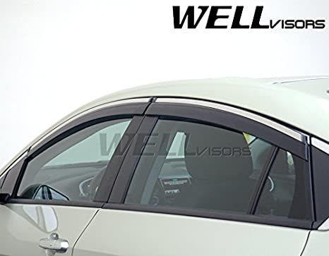 WellVisors Side Window Wind Deflector Visors For Chevrolet Chevy Volt 16-Up 2016 2017 2018 With Chrome Trim