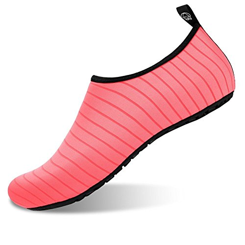 Aslipper Womens and Mens Summer Outdoor Water Shoes Aqua Socks for Beach Swim Surf Yoga Exercise (M(W:7.5-8.5,M:6.5-7.5), Stripe/Peach)