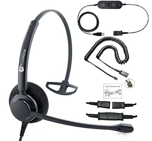 Professional Single Ear Headset with Noise Canceling Mic, USB and U10P Cable Works with Mitel, Polycom VVX, Nortel, Avaya Digital, Analog Deskphones and PC (Softphone) - Complete Solution