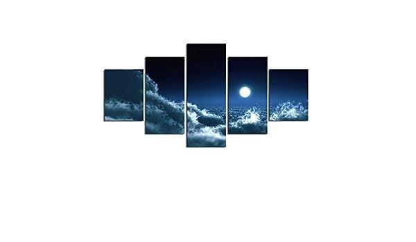 Comeyang Cuadro de Lienzo Grande con 5 Partes de Pintura Decorativa decoración del hogar sin Marco,Playa Paisaje Marino Fresco 13 Pintura núcleo 30x40cmx2 30x60cmx2 30x80cmx1: Amazon.es: Hogar