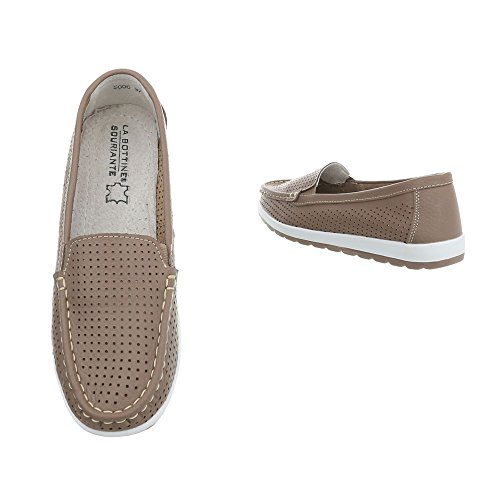Design Moccasins Ital 5006 at Hellbraun Flat Flats Women's Loafer awdqZ