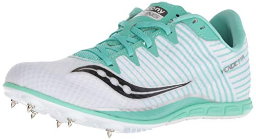 Saucony Women's Vendetta 2 Track Shoe, White/Teal, 8 Medium US