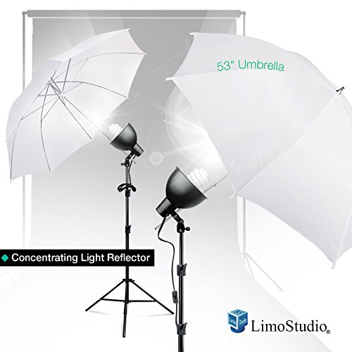 LimoStudio White Umbrella Reflector Complete Lighting Kit with Tripod Stands, Wide Bowl Reflector, and 65W CFL Photo Light Bulbs for Photo and Video Studio, AGG2781