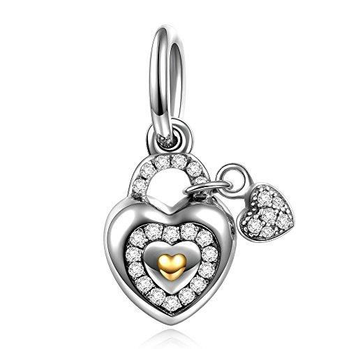 Ninaqueen 925 Sterling Silver Cubic Zirconia   Lock Heart Dangle Charm