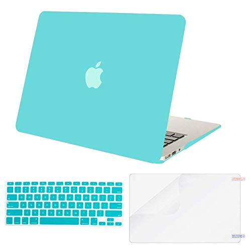 MOSISO Plastic Hard Shell Case & Keyboard Cover & Screen Protector Compatible MacBook Air 11 Inch (Models: A1370 & A1465), Turquoise