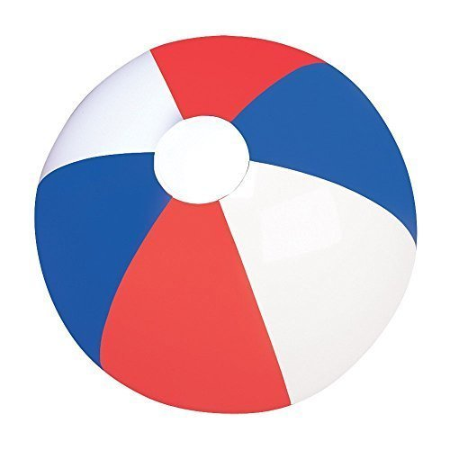 RIN Set of Six (6) Inflatable Patriotic Beach Balls 12 / Party Favor/ 4th of July /Decor / Prize