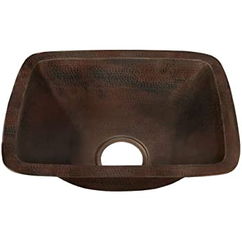 "Miseno MC-NA200 Rectangular 12"" Copper Drop-In or Undermount Bar Sink, Hand-Hammered Antique Copper"