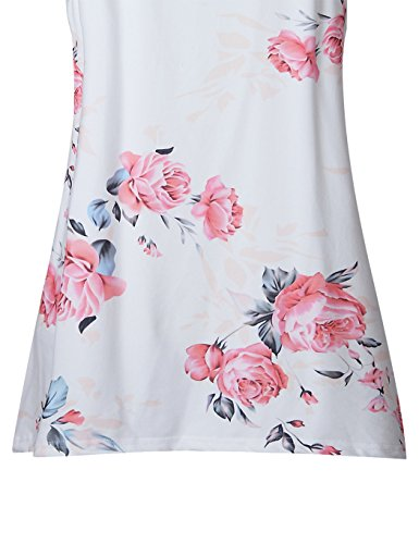 LitBud Womens Summer Tank Top for Women Ladies Floral Halter Cami Loose Tee Casual T Shirts Flowy Halter Basic Tunic Tops Blouse White Size 4 6 S