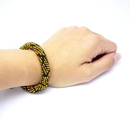 Snake skin gold brown HANDMADE Bacelet python print bead crochet rope jewelry animal zoo beaded bracelet for women gift idea summer fashion cute