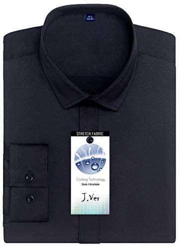 J.VER Men's Poplin Dress Shirts Non Iron Long Sleeve Elastic Regular Fit - Color: Black, Size: 16