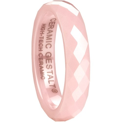 - Pink Ceramic Ring by CERAMIC GESTALT - 4mm Width. Faceted Design (Avail. Sizes 5 to 14) Size 5 - RP4FD5
