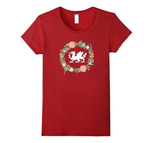 Women's Floral Welsh Dragon tshirt - I Love Wales Cymru t-shirt top XL Cranberry Ladies Welsh Dragon