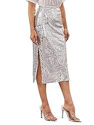 Sequin Skirt Zipper Back With High Waist Split Hem