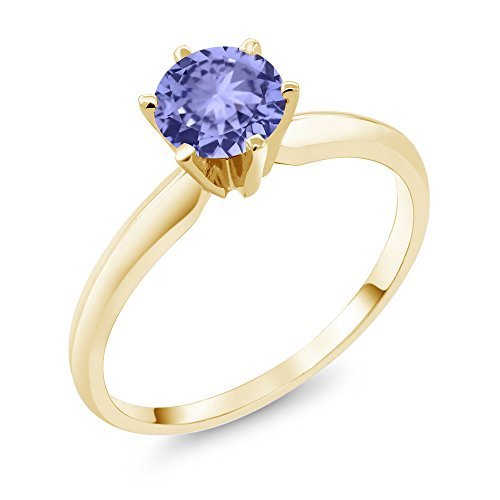 Gem Stone King 14K Yellow Gold Blue Tanzanite Engagement Solitaire Ring 0.90 Ctw Gemstone Birthstone (Size 5)